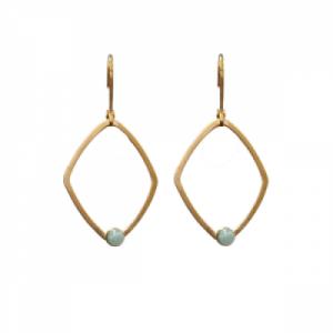 """Petit Point"" Amazonite Rhombus - Brisur Earring - Gold"
