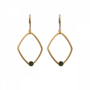 """Petit Point"" Green Jade Rhombus - Brisur Earring - Gold"