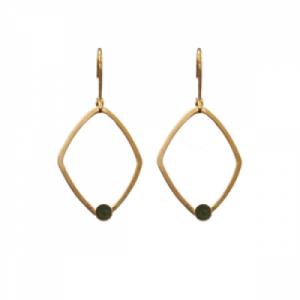 """Petit Point"" Green Jade Rhombus - Brisur Earring - Gold"