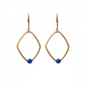 """Petit Point"" Lapislazuli Rhombus - Brisur Earring - Gold"