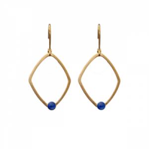 """Petit Point"" Lapislazuli Rhombus - Brisur Earring - Gold"