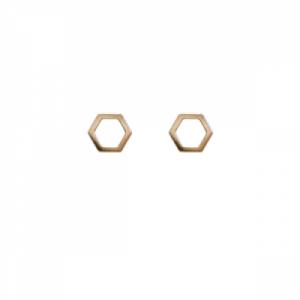 """Cleometra"" Hexagon - Stud Earring - Gold"