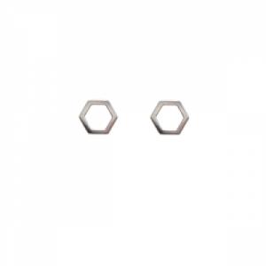 """Cleometra"" Hexagon - Stud Earring - Silver"