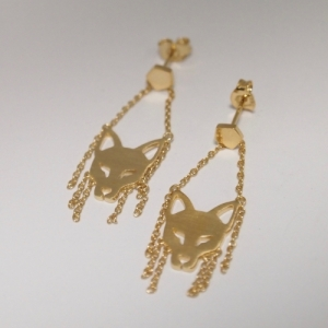 """Cityfox"" Head Trapeze - Stud Earring - Gold"