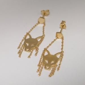 """Cityfox"" Head Trapeze - Stud Earring - Gold"