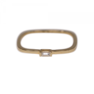 """Baguette"" Diamond Square - Ring - 18 Karat Gold"
