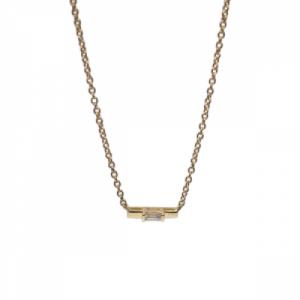 """Baguette"" Diamond Bar - Necklace - 18 Karat Gold"