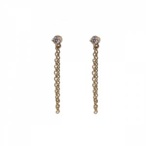 """Solitaire"" Diamond White Chaining - Stud Earring - 18 Karat Gold"