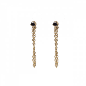 """Solitaire"" Diamond Black Chaining - Stud Earring - 18 Karat Gold"