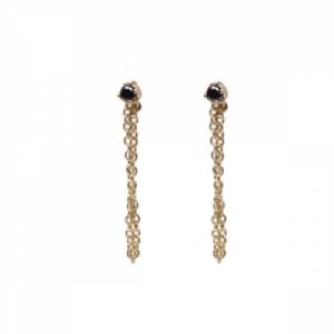"""Solitaire"" Diamond Black Chaining - Stud Earring - 18 Karat Gold"