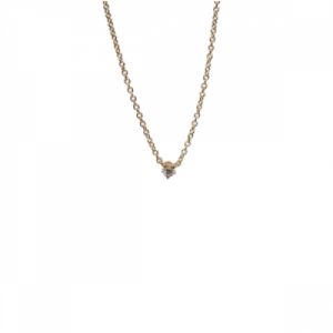 """Solitaire"" Diamond White - Necklace - 18 Karat Gold"