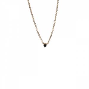 """Solitaire"" Diamond Black - Necklace - 18 Karat Gold"