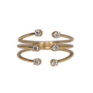 """Solitaire"" Diamond White Six - Ring - 18 Karat Gold"