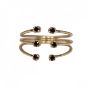"""Solitaire"" Diamond Black Six - Ring - 18 Karat Gold"