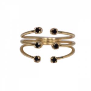 """Solitaire"" Diamond Black Six - Ring - 18 Karat Gold"
