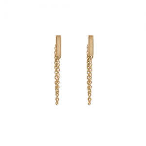 """Stripes & Joist"" Bar Chaining - Stud Earring - Gold"