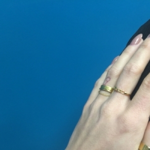 """Stripes & Joist"" Bar Chaining - Ring - Gold"