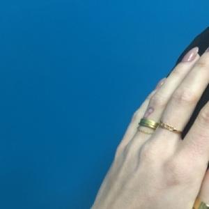 """""""Stripes & Joist"""" Bar Chaining - Ring - Gold"""