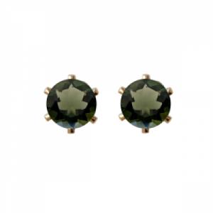 """""""Solitaire"""" Moldavite (M) - Stud Earring - Gold"""