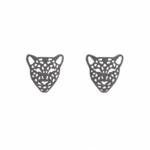 """Panthera"" Head - Stud Earring - Ruthenium"