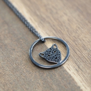 """Panthera"" in Circle - Necklace - Ruthenium"