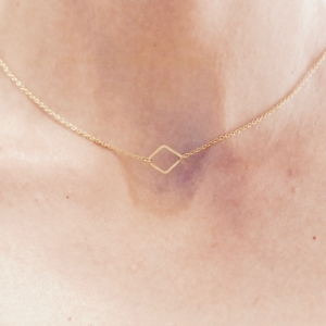 """Opalia"" Rhombus Minimal - Collier - Gold"