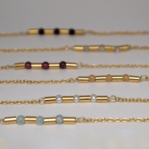 """Tube-Deco"" Gemstone - Collier - Gold"