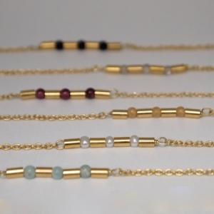 """Tube-Deco"" Gemstone - Collier - Gold"