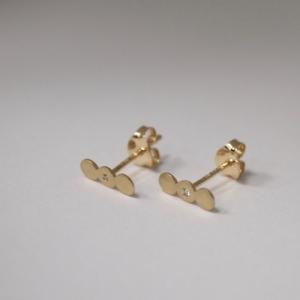 """Paillette"" Three One White Diamond - Stud Earring - 18 Karat Gold"