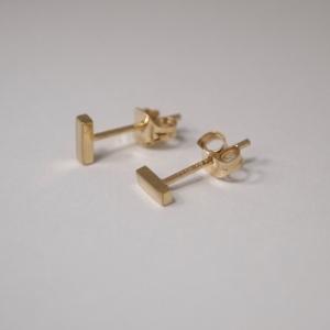 """Stripes & Joist"" Bar S - Stud Earring - 18 Karat Gold"