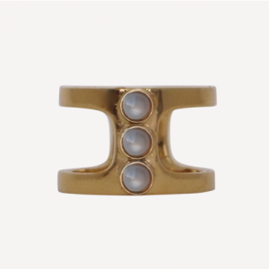 """Petit Point"" Grey Moonstone Orion - Ring - Gold"