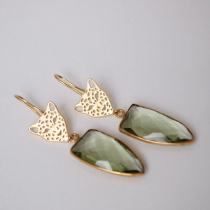 """Panthera"" Green Amethyst Big Head - Earring - Gold"