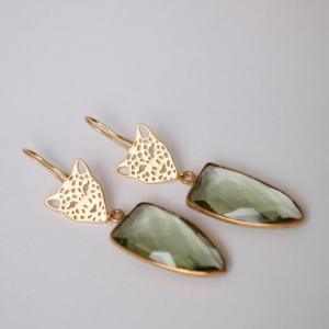 """Panthera"" Green Amethyst Big Head - Earring - Gold"