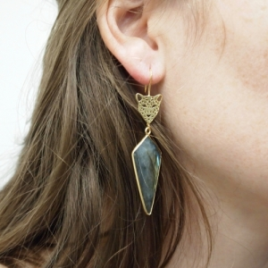 """Panthera"" Labrad Big Head - Earring - Gold"