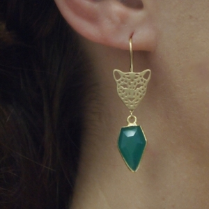 """Panthera"" Green Onyx Big Head - Earring - Gold"