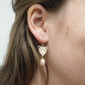 """Panthera"" Pink Opal Big Head - Earring - Gold"