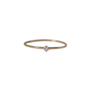 """Solitaire"" Diamond White (XS) - Ring - 18 Karat Gold"