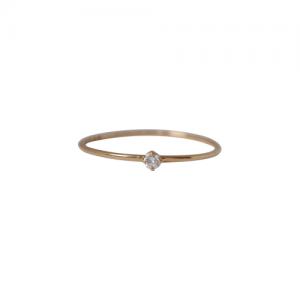 """Solitaire"" Diamond White (XS) - Ring - 18 Karat Gold"