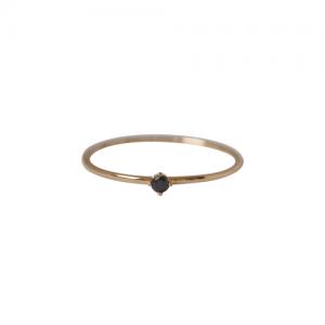 """Solitaire"" Diamond Black (XS) - Ring - 18 Karat Gold"