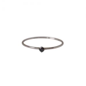 """Solitaire"" Diamond Black (XS) - Ring - 18 Karat Whitegold"
