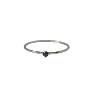 """Solitaire"" Diamond Black (XS) - Ring - 18 Karat Whitegold"