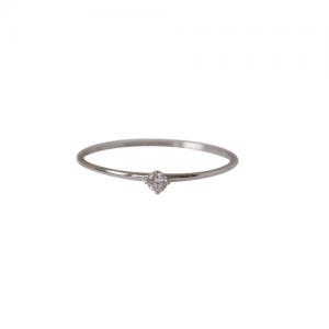"""Solitaire"" Diamond White (XS) - Ring - 18 Karat Whitegold"