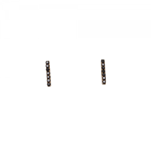 """Stripes & Joist"" Bar Seven Diamond Black - Stud Earring - 18 Karat .."