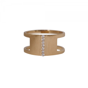 """Stripes & Joist"" Bar Seven Diamond White - Ring - 18 Karat Gold"
