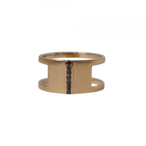 """Stripes & Joist"" Bar Seven Diamond Black - Ring - 18 Karat Gold"