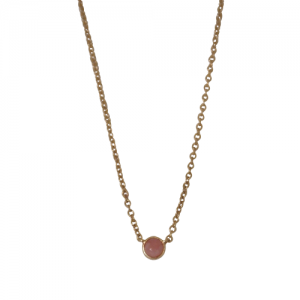 """Petit Point"" Pink Opal - Necklace - 18 Karat Gold"