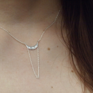 """Moon"" Half Phase - Collier - Silver"