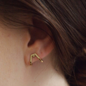 """Trinity"" Triangle - Sleeve Stud Earring - Gold"
