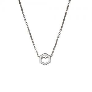 """Cleometra"" Hexagon Orbit - Necklace - Silver"