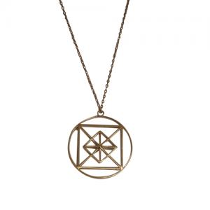 """Cleometra"" Pyramid Geometry - Necklace - Gold"